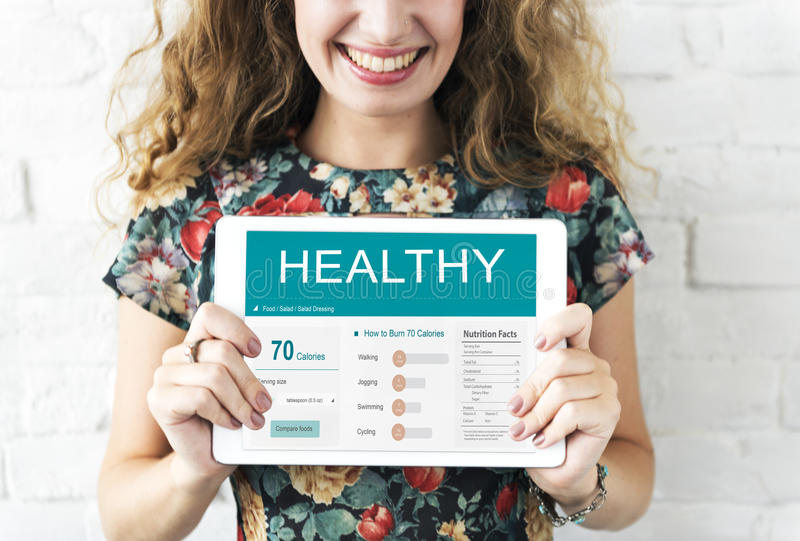 健康健身营养显示器健康概念 库存图片