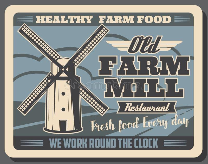 健康农厂食物和五谷磨房减速火箭的海报 库存例证