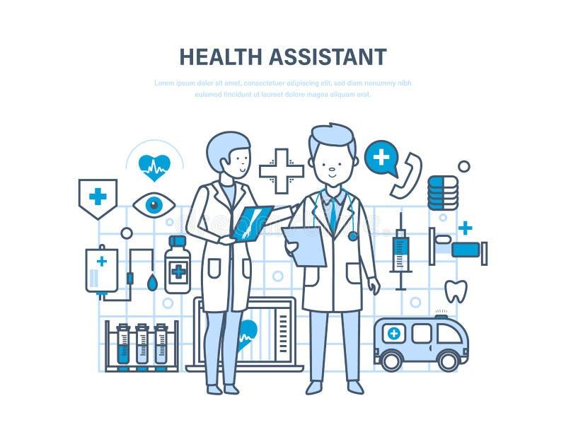 健康助理概念 联合工作,辅助医生 队医疗人民 库存例证