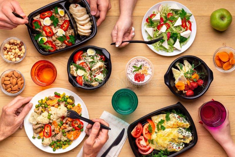 健康午饭时间概念,顶视图 免版税库存图片