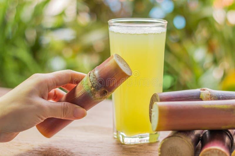 健康吃的甘蔗新鲜的汁,节食的新鲜食品 免版税库存图片