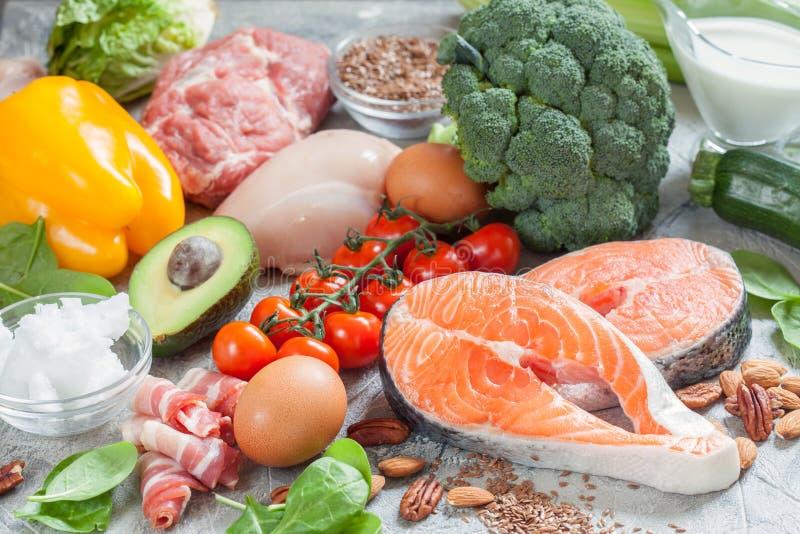 健康吃食物低碳keto能转化为酮的饮食膳食计划 免版税图库摄影