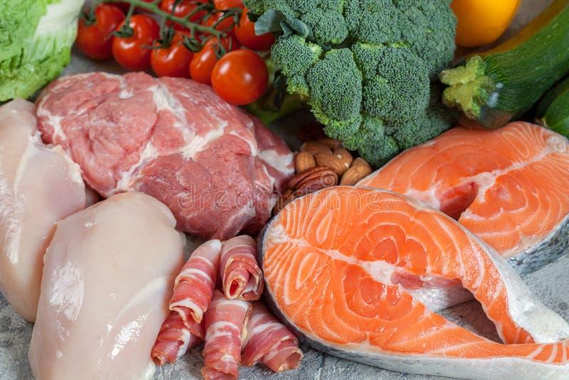 健康吃食物低碳keto能转化为酮的饮食膳食计划 免版税库存图片