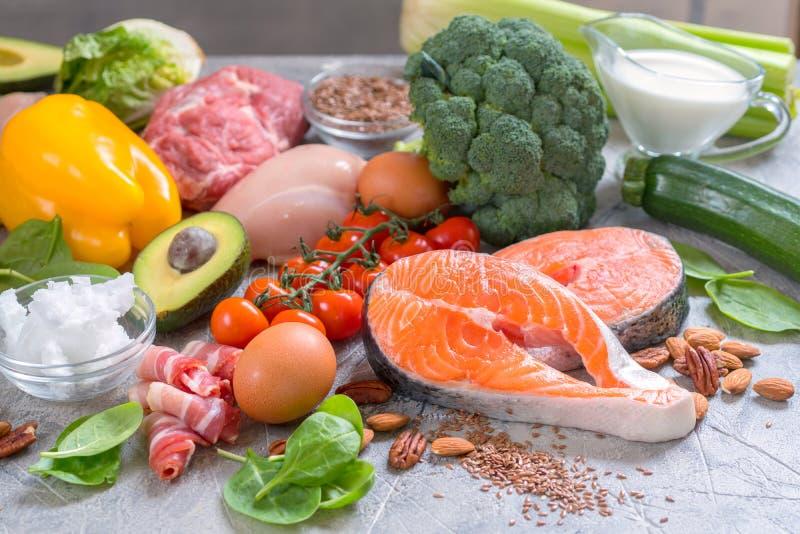 健康吃食物低碳keto能转化为酮的饮食膳食计划 免版税库存照片