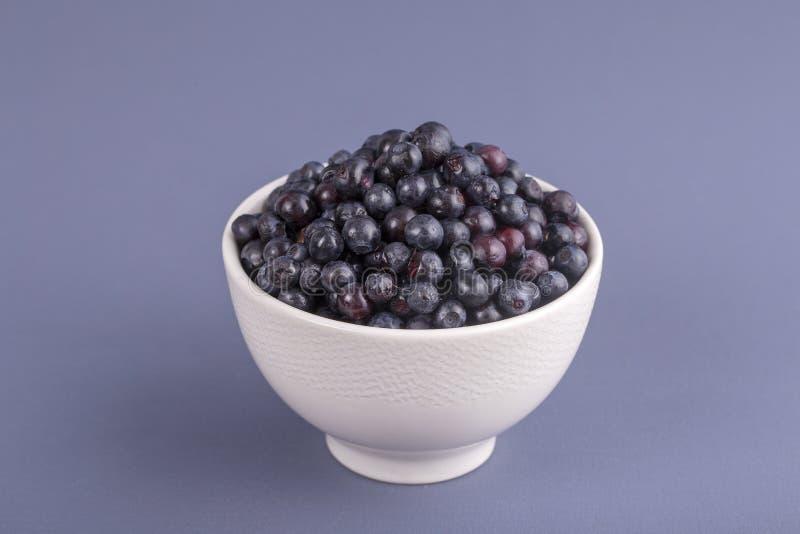 健康吃,食物,节食和新鲜素食的概念-,在碗,野生莓果,特写镜头的成熟蓝莓 在gr的新鲜的蓝莓 免版税图库摄影