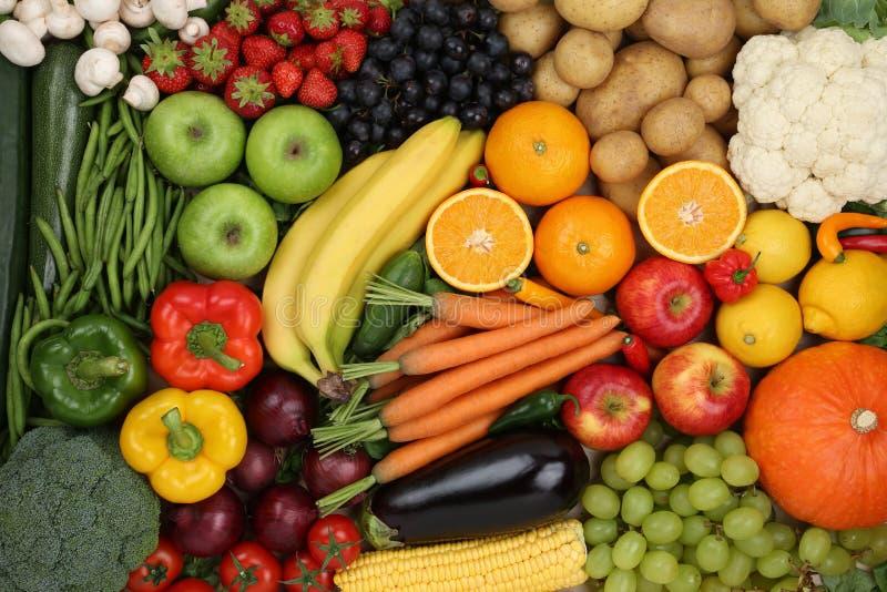 健康吃素食水果和蔬菜背景 免版税库存照片