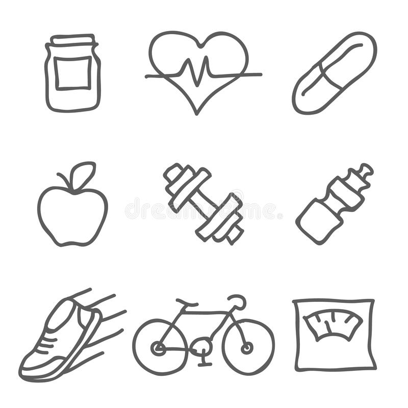 健康和健身传染媒介象 印刷品、机动性和Web应用程序的元素 库存例证