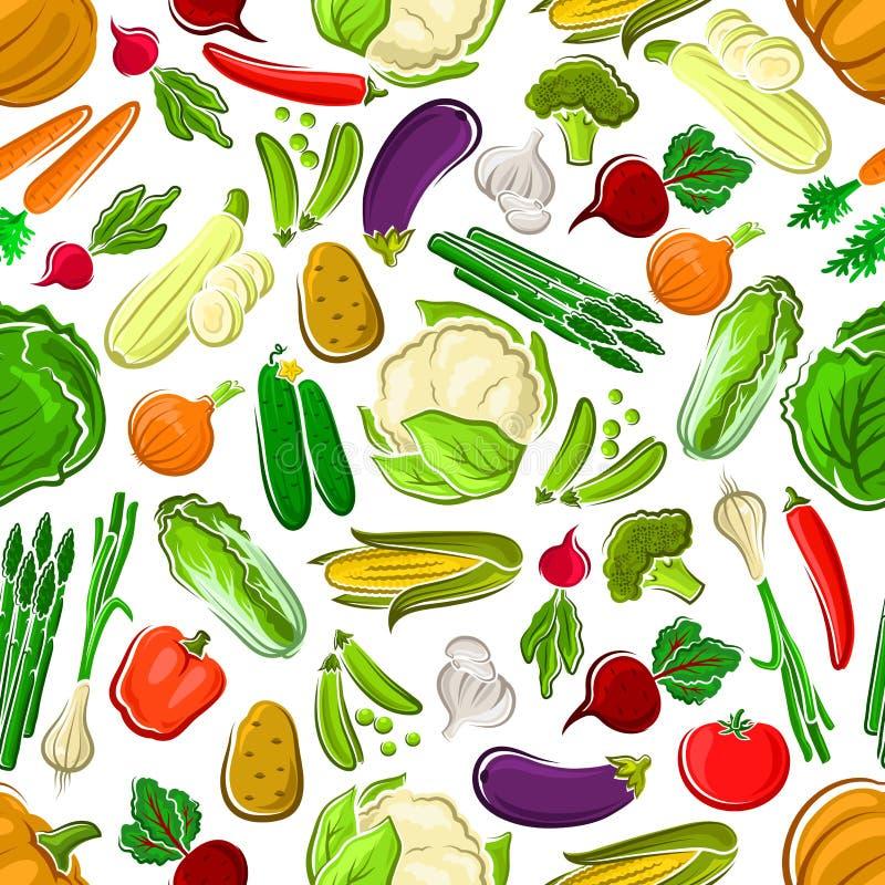 健康和未加工的农厂菜无缝的样式 库存例证