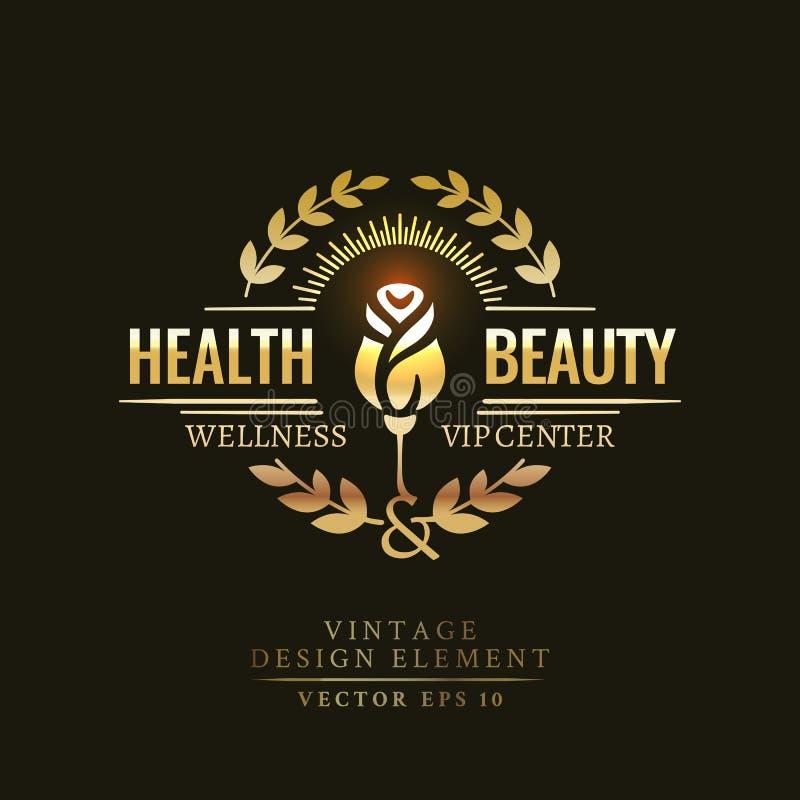 健康和秀丽的金减速火箭的徽章 免版税图库摄影