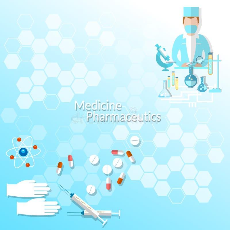 健康和医学,药房,研究医生, 皇族释放例证