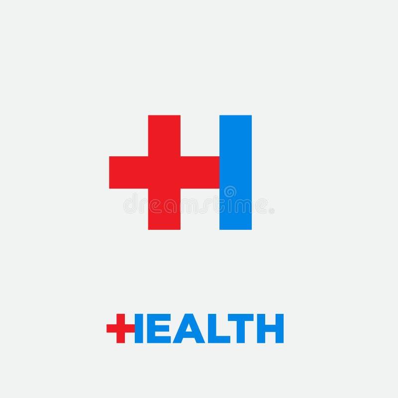 健康商标 药房象征 与药房发怒象的信件H,隔绝在白色背景 信件H和医疗十字架 向量例证
