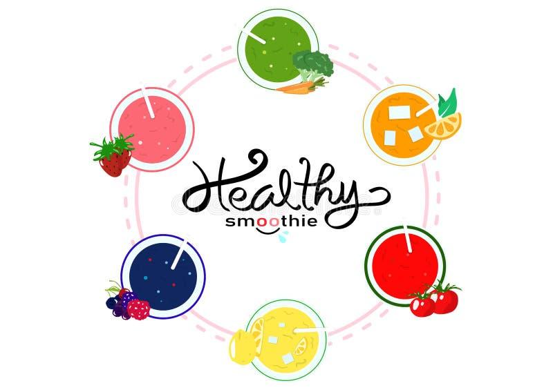 健康圆滑的人平衡饮食菜单,横幅模板食物和饮用产品、菜和果子水多的概念在白色空间 向量例证