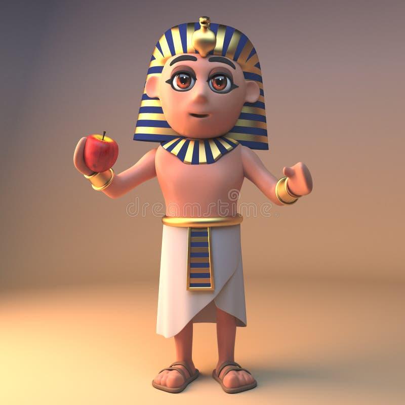 健康埃及法老王吃苹果,3d的图坦卡蒙例证 库存例证