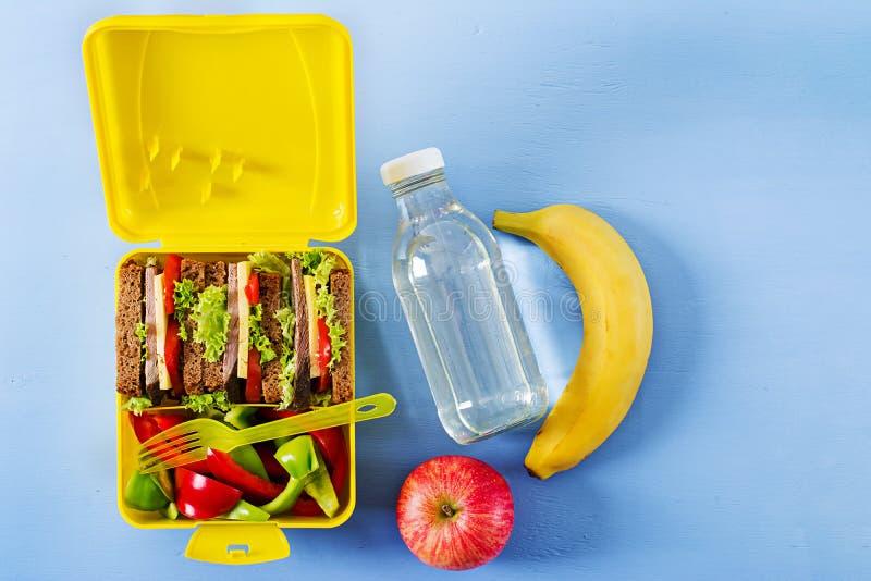 健康学校午餐箱子用牛肉三明治和新鲜蔬菜 图库摄影