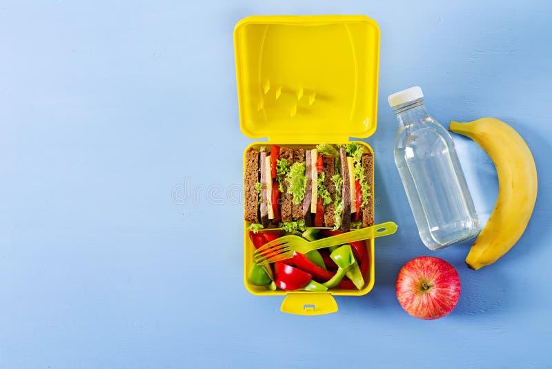 健康学校午餐箱子用牛肉三明治和新鲜蔬菜 免版税库存图片