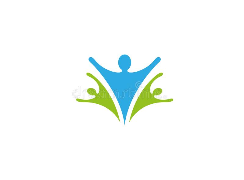 健康家庭关心和愉快的人民开放手商标 库存例证