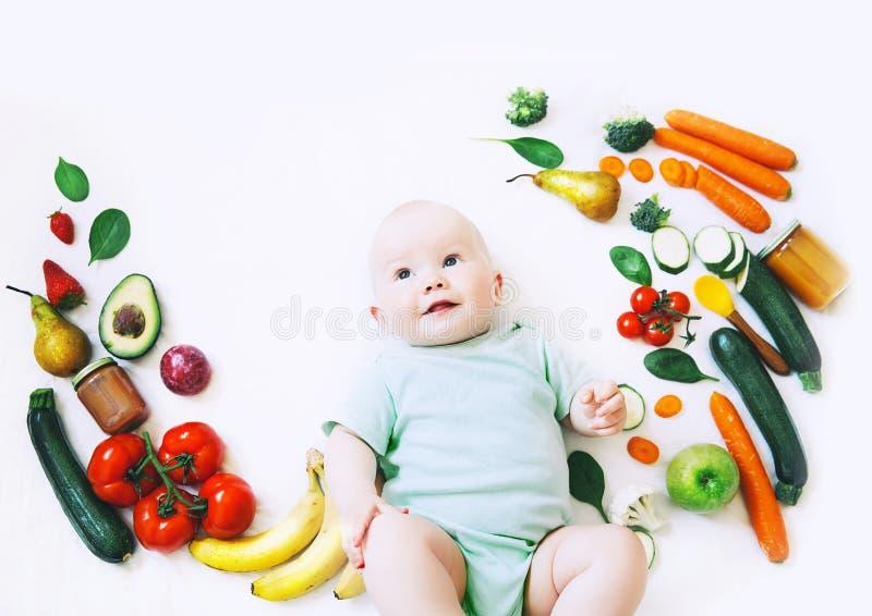 健康小儿童营养,食物背景,顶视图 免版税库存图片