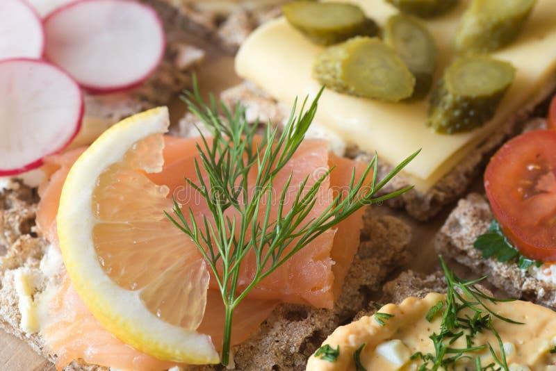 健康小单片三明治乳酪选择聚焦宏指令 库存图片