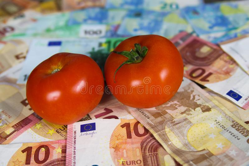 健康平衡的营养费用概念-在欧元纸币钞票的两个蕃茄 免版税库存图片