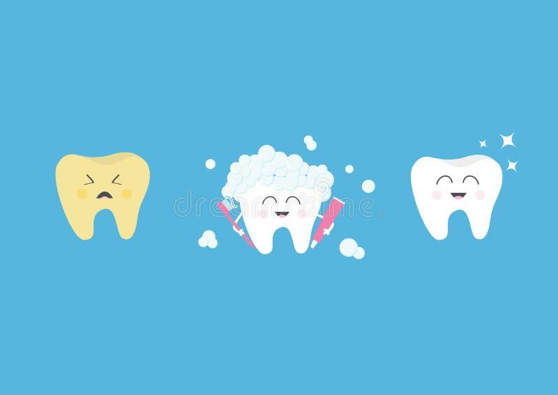 健康微笑的白色牙象 哭泣的坏不适的黄色牙 有牙膏泡影泡沫的牙刷 以前在概念以后 逗人喜爱 皇族释放例证