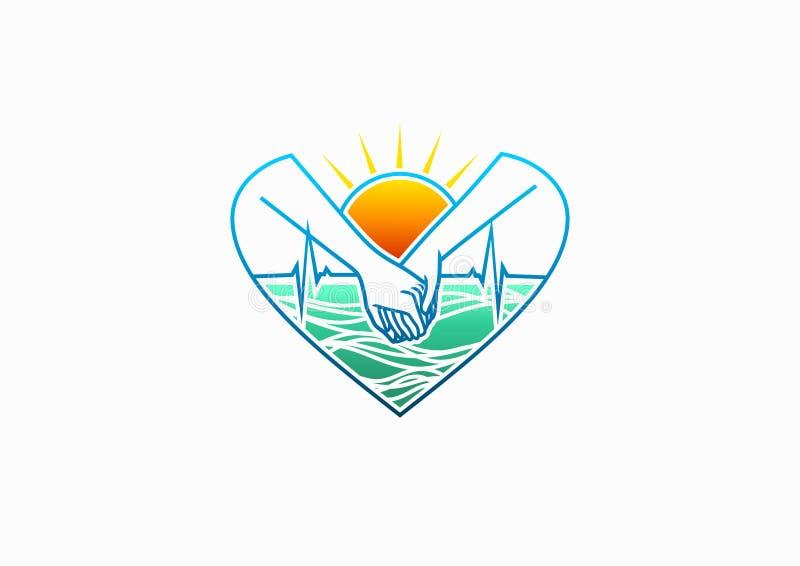 健康心脏商标、心脏科医师象、自然关心爱标志、hearbeat关心、医疗外科医生和健康生活构思设计 向量例证