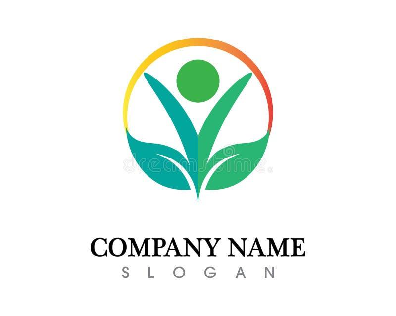 健康成功人关心商标和标志模板 库存例证