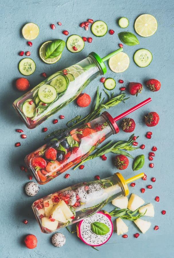 健康戒毒所灌输了水平的位置各种各样的切的果子、莓果调味用新鲜的草本,黄瓜和柠檬在瓶 免版税库存照片