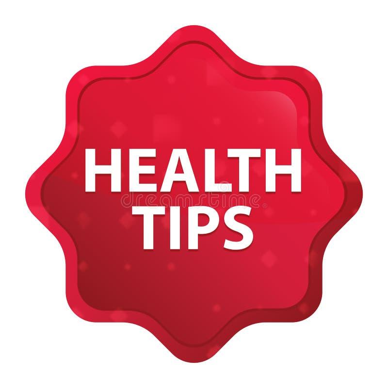健康技巧有薄雾的玫瑰红的starburst贴纸按钮 向量例证