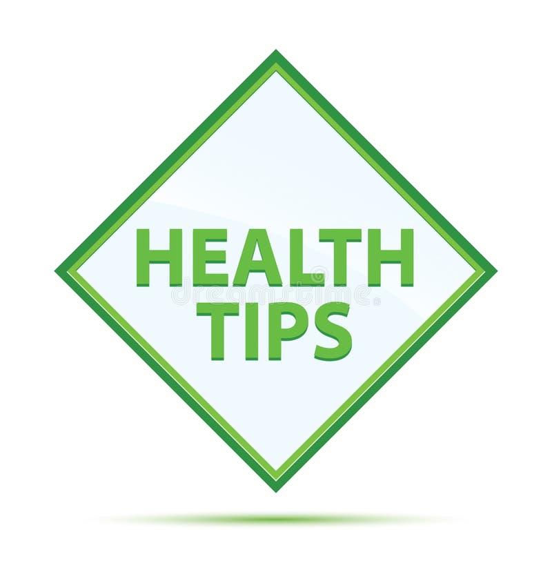 健康技巧现代抽象绿色金刚石按钮 皇族释放例证