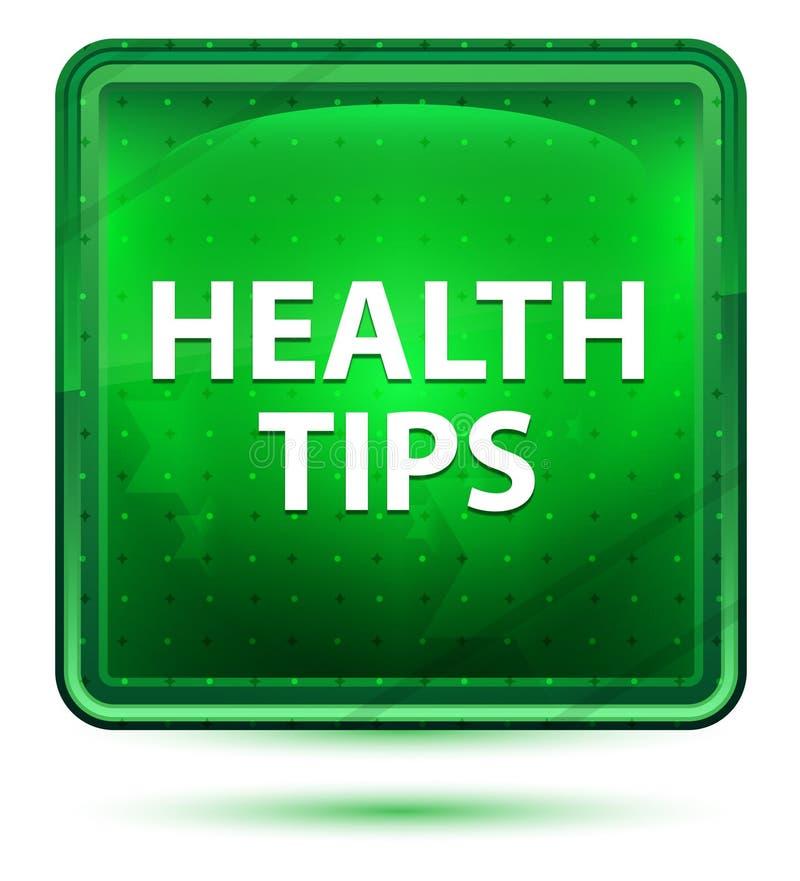 健康技巧霓虹浅绿色的方形的按钮 库存例证