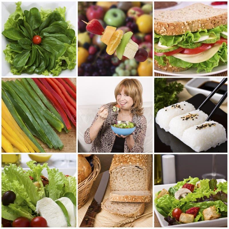 健康拼贴画的食物 免版税库存照片