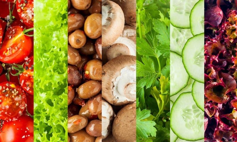 健康新鲜的沙拉成份拼贴画  免版税库存照片