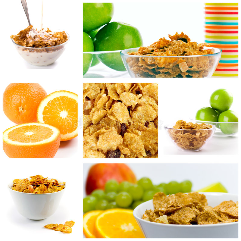 健康早餐的收藏 免版税库存照片