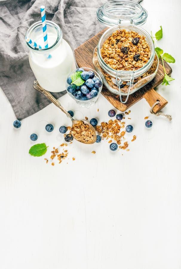 健康早餐ingrediens 在开放玻璃瓶子的自创格兰诺拉麦片、牛奶或酸奶瓶、蓝莓和薄菏 免版税图库摄影