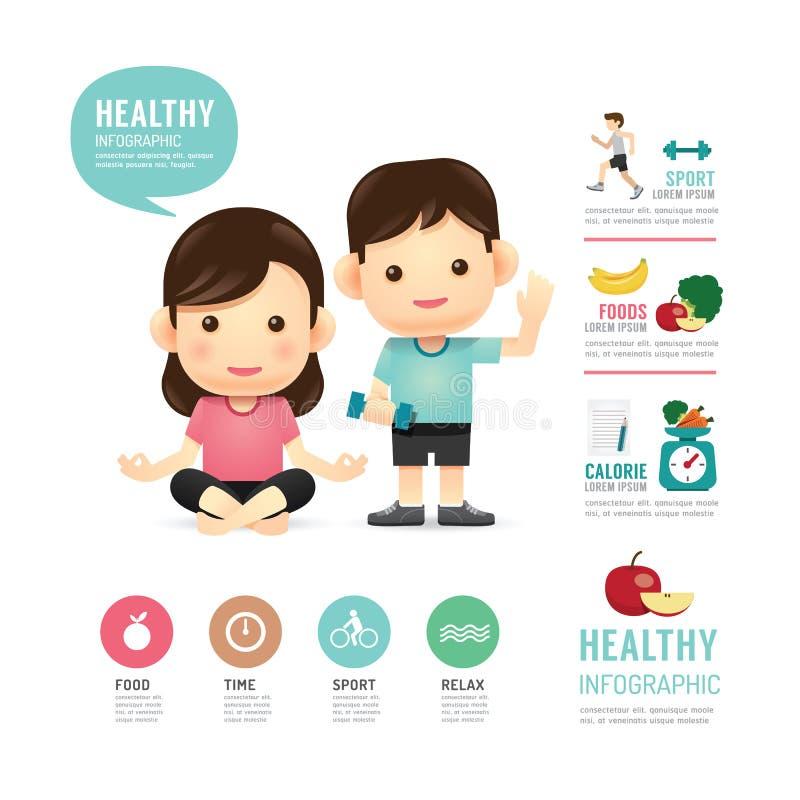 健康时间食物和体育人infographic的程序设计 皇族释放例证