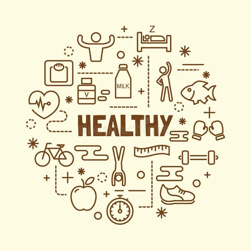 健康最小的稀薄的线被设置的象 向量例证