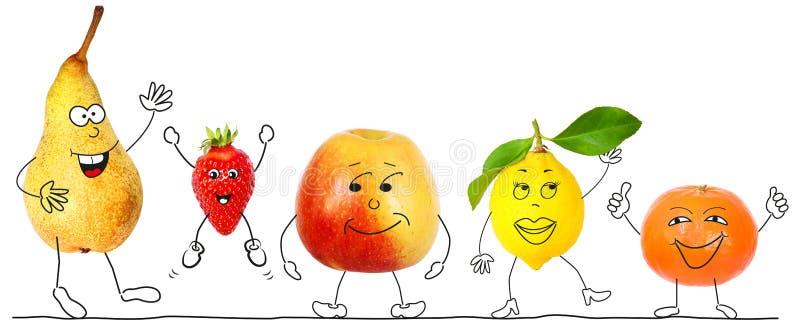 健康有机果子,卡通人物 库存图片