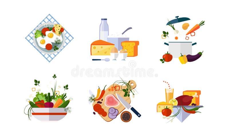 健康有机食品集合、饮食菜单、牛奶店、菜和肉制品导航在白色背景的例证 向量例证