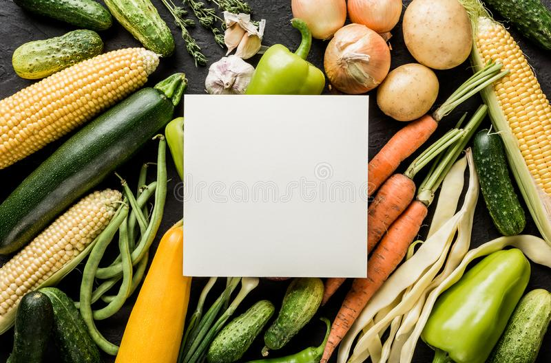 健康未加工的夏天素食主义者菜和草本,红萝卜,玉米,胡椒,土豆,夏南瓜 库存照片