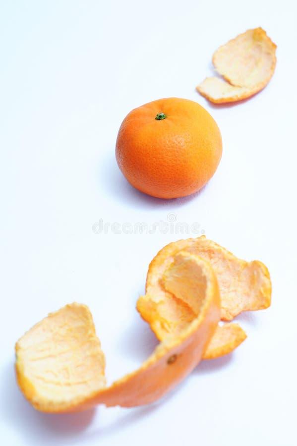 健康果子,橙色果子,作为前景的橙色peeles皮肤从顶视图 免版税库存图片