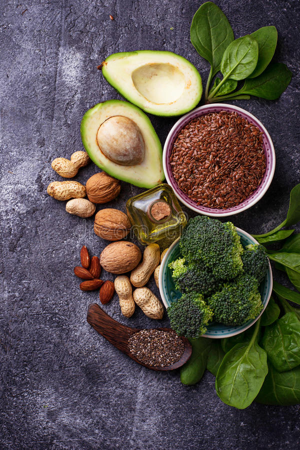 健康概念的食物 素食主义者油脂来源 免版税图库摄影
