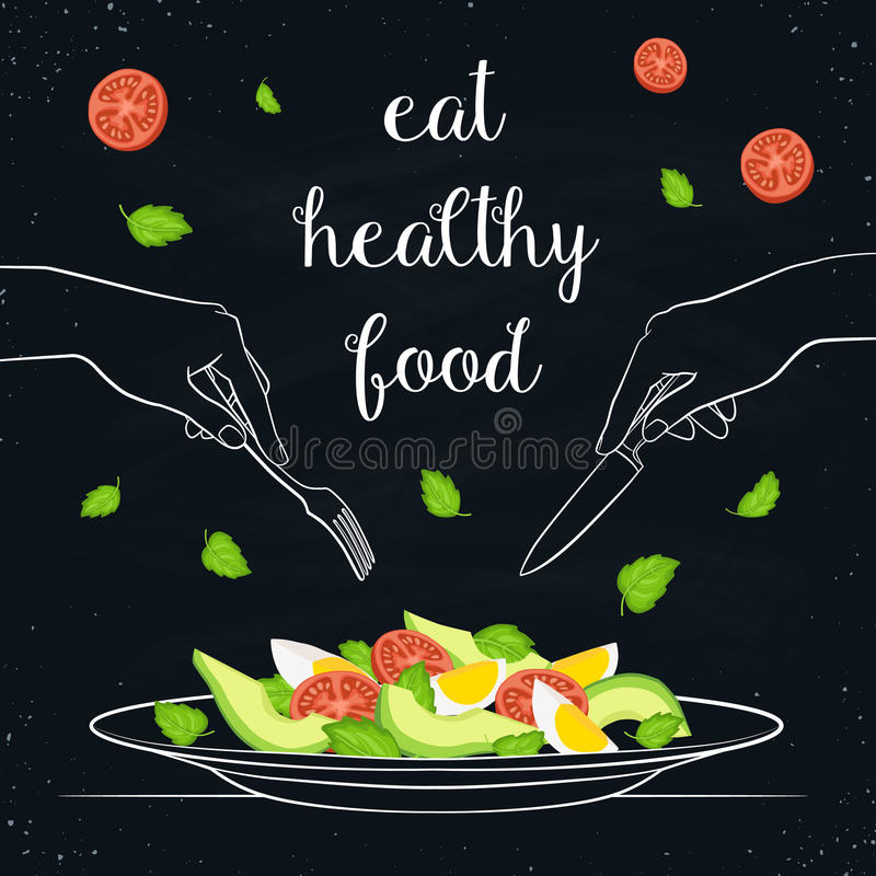 健康概念的食物 库存例证