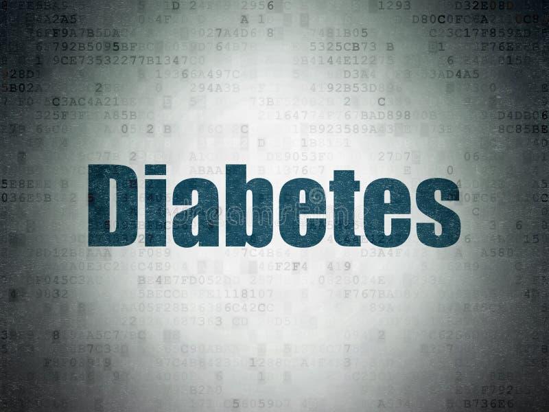 健康概念:在数字资料纸背景的糖尿病 皇族释放例证