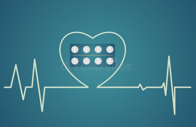 健康概念-心脏标志包括药片,平的设计 库存例证
