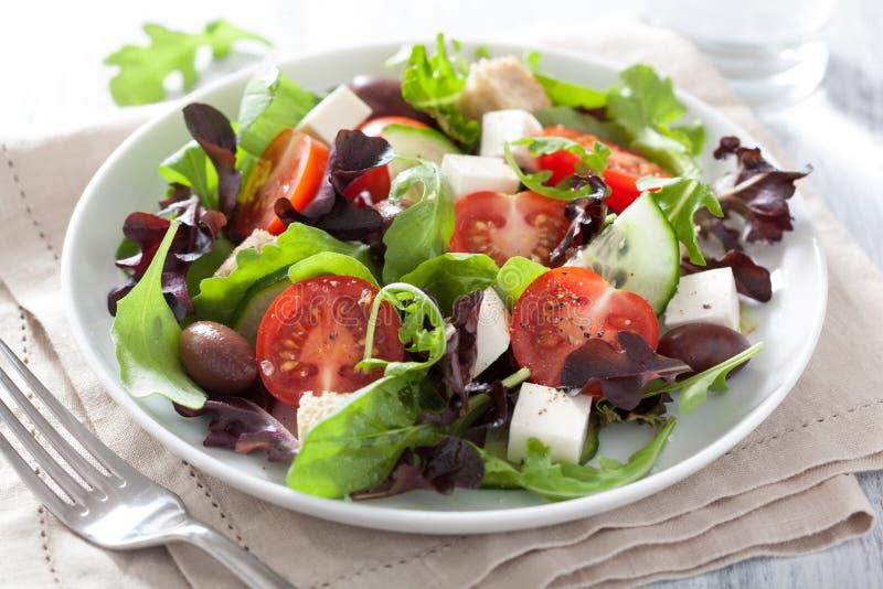 健康沙拉用蕃茄橄榄和希腊白软干酪 库存图片