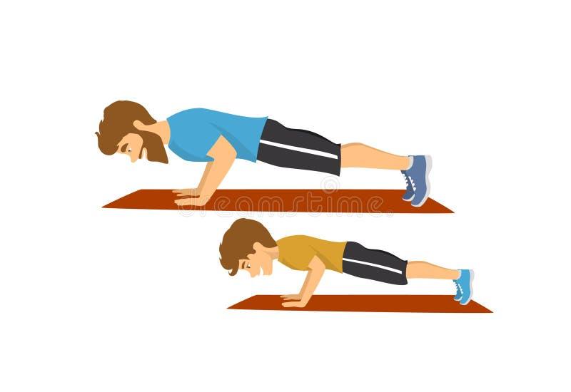 健康活跃做俯卧撑的家庭生活方式、父亲和儿子一起行使锻炼 向量例证