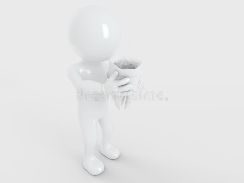 健康牙由怀特曼3d翻译握 库存例证