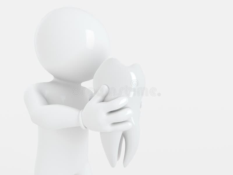 健康牙由怀特曼3d翻译握 向量例证