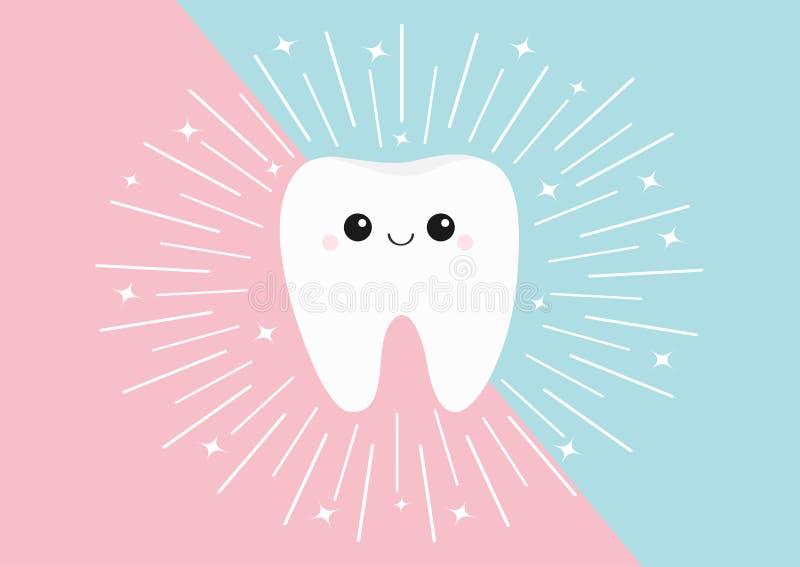 健康牙象 与眼睛和微笑的逗人喜爱的kawaii面孔 圆的线圈子 平的设计 口头牙齿卫生学 儿童牙关心 库存例证