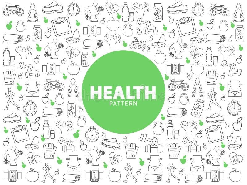 健康生活方式样式 库存例证